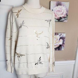 ST JOHN Evening Dragonfly Applique Sweater 12